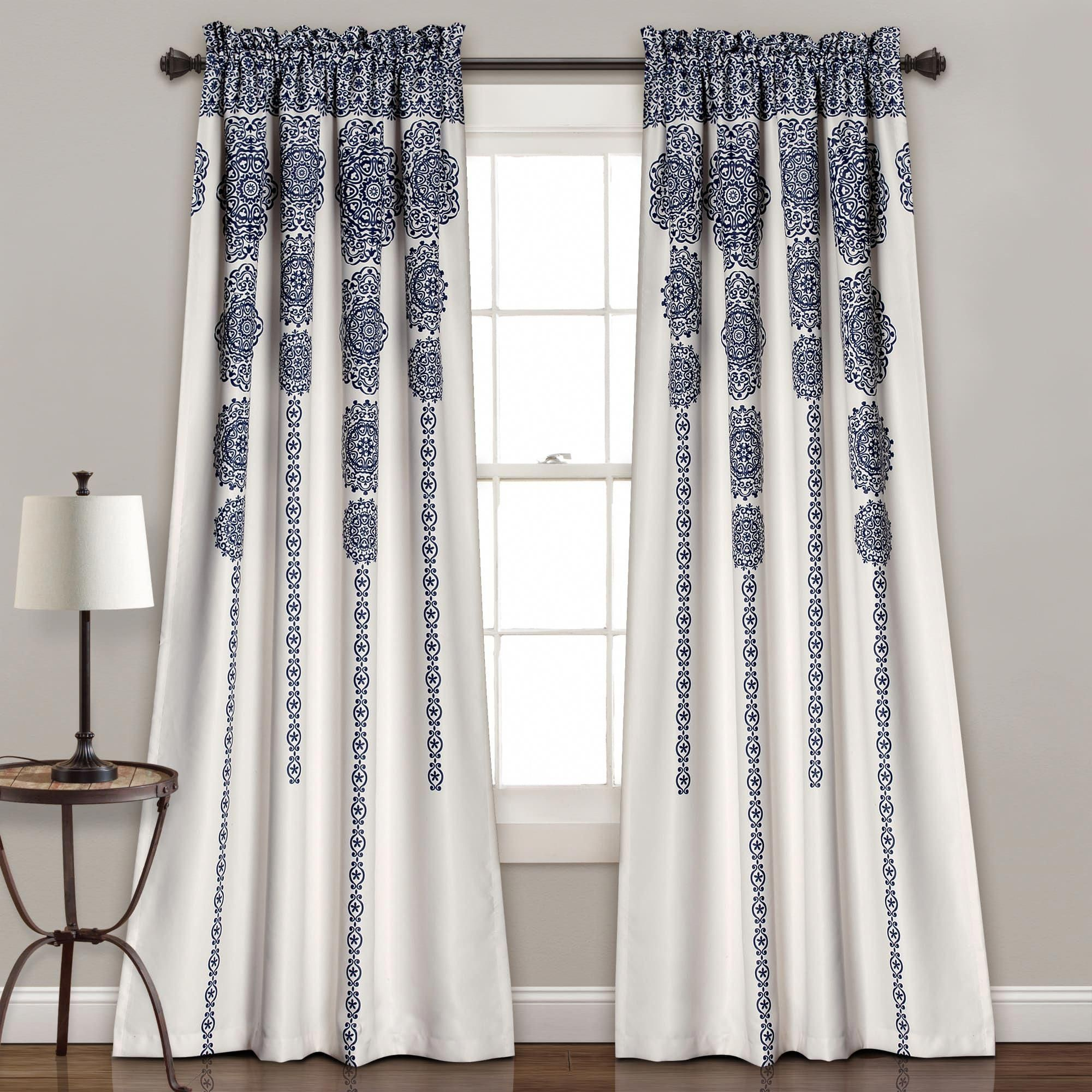 36 Inch Room Darkening Curtains Lush Decor Stripe Medallion Room Darkening Curtain Panel Pair 84