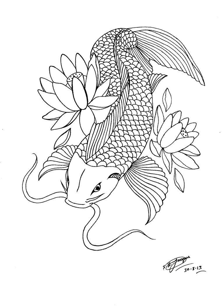 koi fish coloring pages - my koi carp lotus tattoo design 3 by shannonxnaruto