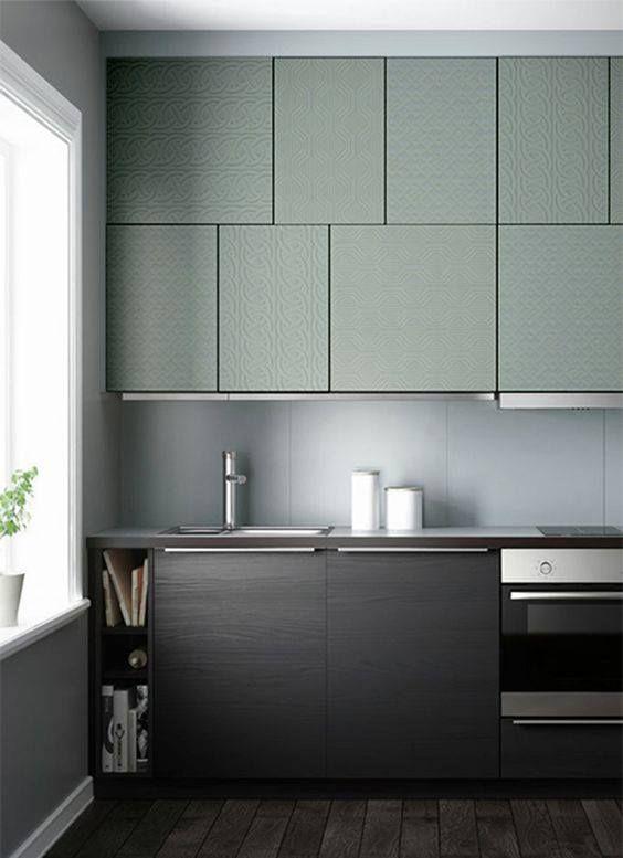 Une cuisine bicolore pour donner du cachet et du caract re le noir et le vert d 39 eau s 39 associent - Cuisine bicolore ...