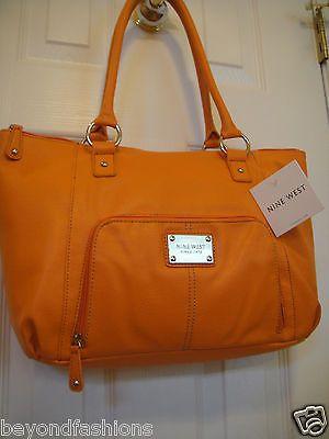 NWT NINE WEST FAUX LEATHER ~ ORANGE ~ Meriden Tote/ Shoulder Handbag