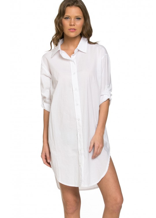 Basics Oversized Shirt Dress in Solid White (Plus Sizes Available)<br/><div class='zoom-vendor-name'>By <a href=http://www.ustrendy.com/SoHoGirl>SoHo Girl</a></div>
