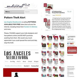 Pattern Theft Alert!! Los Angeles Needlework is selling our free patterns! They've swiped patterns from quilt, knitting, crochet, and embroidery designers. Help spread the word! | Flickr - Photo Sharing!