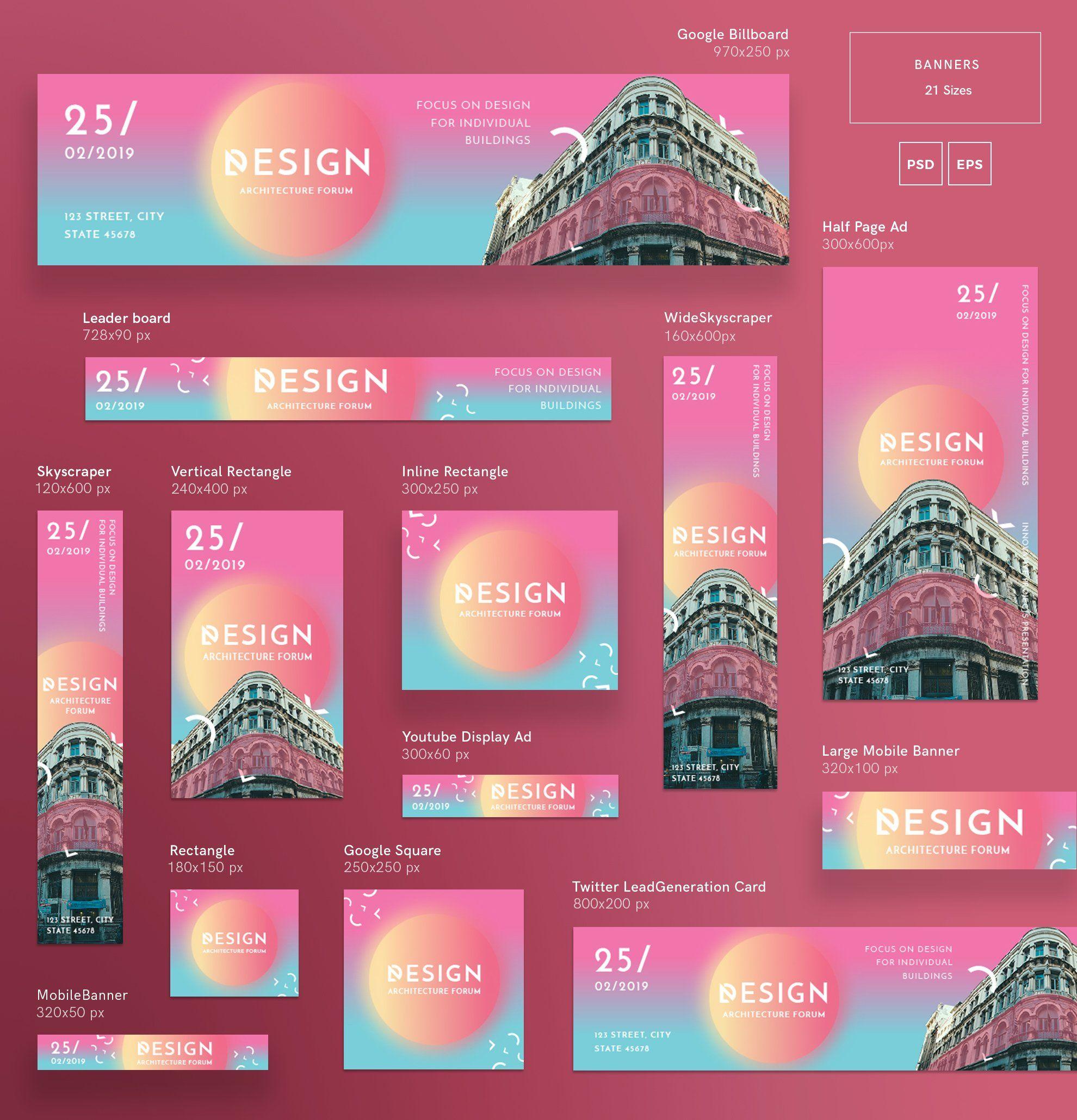 Mega Bundle Architecture Forum Banner Ads Design Banner