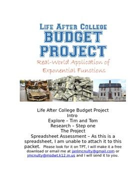 Exponential Functions Project Life After College Budget After