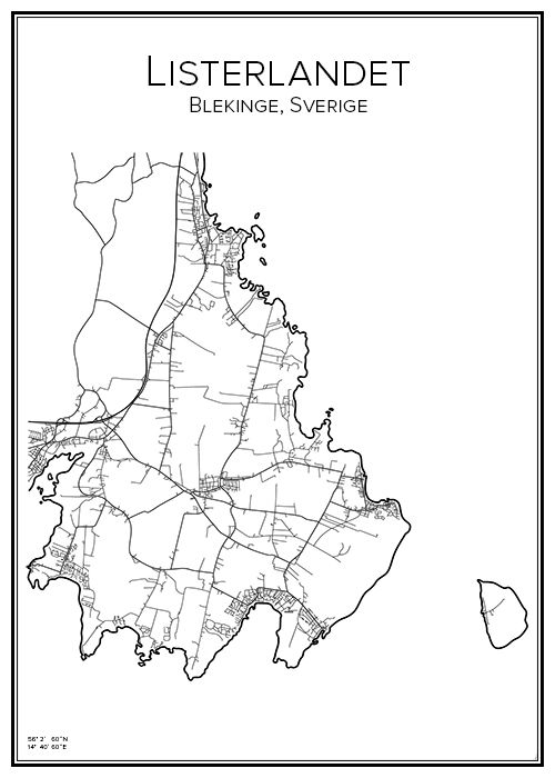 Kommuner I Blekinge Karta.Listerlandet City Prints City Maps Map Och Sketches