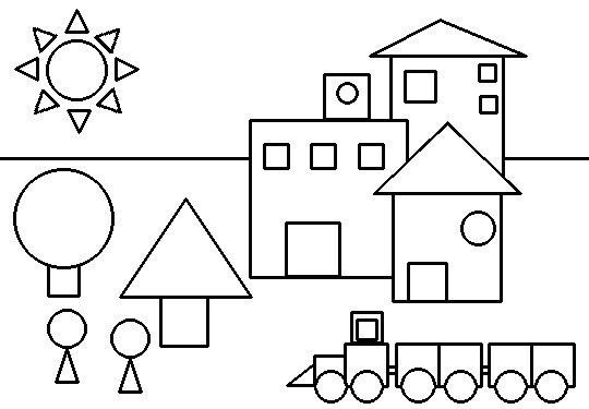 Dibujo de tren de figuras geometricas imagui for Jardin geometrico