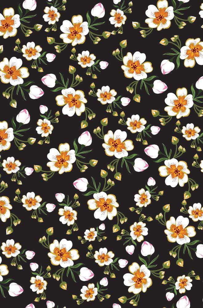 Flores En Fondo Negro Iphone Wallpaper Pattern Images Pattern