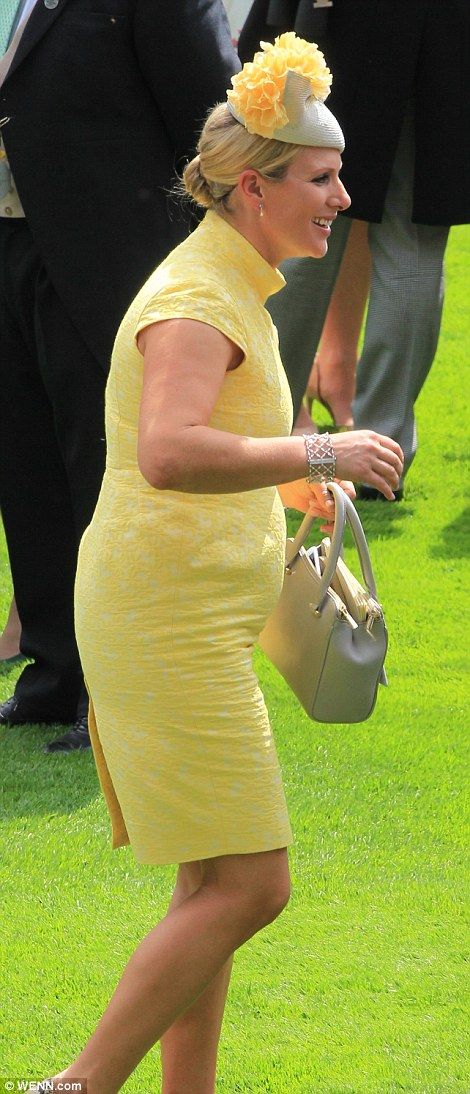 09e76cc1 Glowing: Zara looked fresh-faced and healthy in her yellow dress by Irish  designer Paul Costelloe