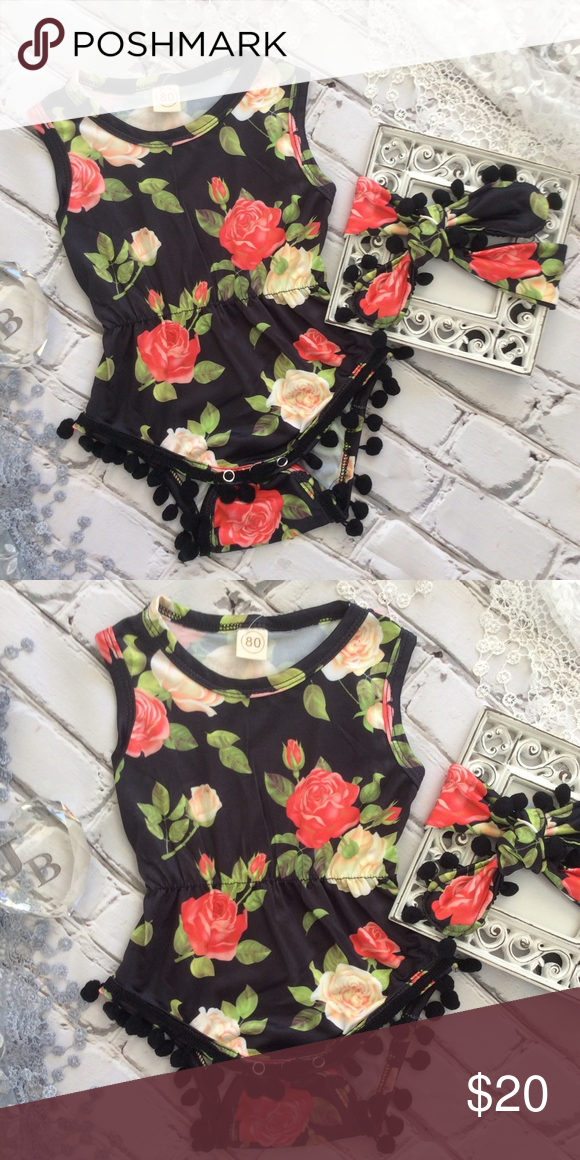 9c14fecf1 Boutique Baby Girl Rose Romper & Headband Baby girl black & red rose romper  with Pom Pom fringe at legs and snaps at bottom. Includes matching headband.