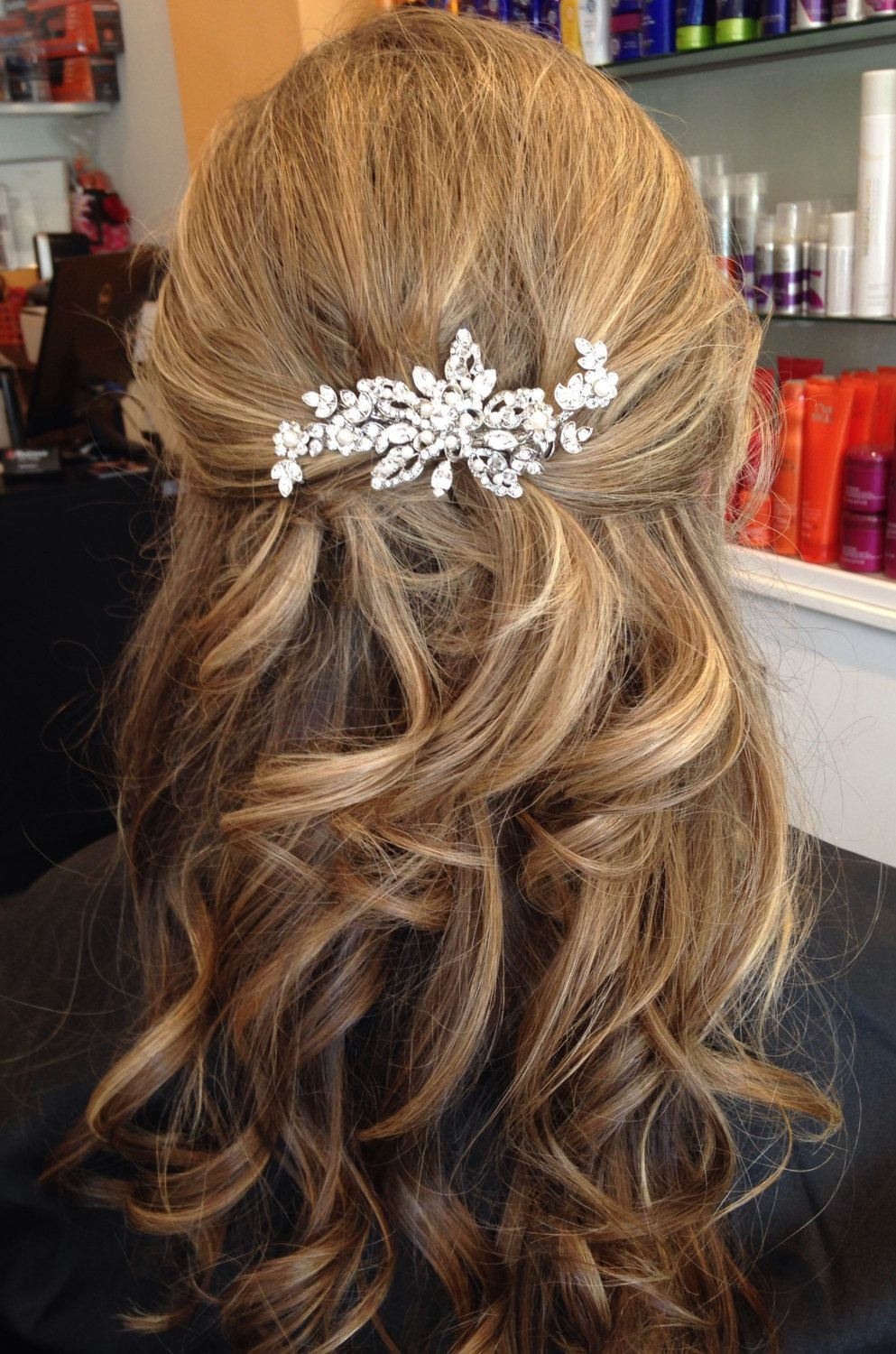 bridal hair accessory. rhinestone wedding hair clip. love the half