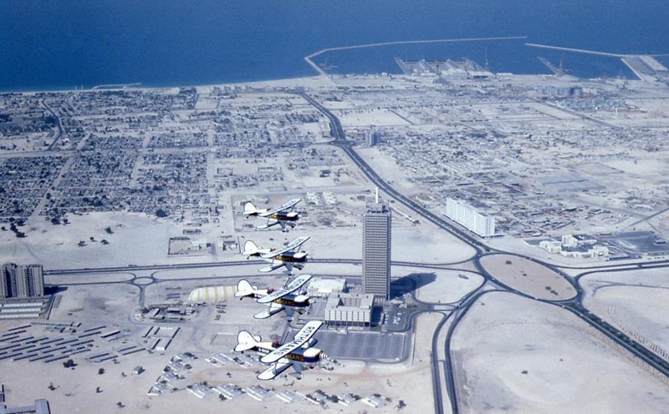 Aerial Photo Of Dubai Trade Centre Wilson Building Satwa And Jumeirah Beach صورة جوية لمركز دبي التجاري ومبنى ويلسون وطريق السطوة وشاطئ الجميرة