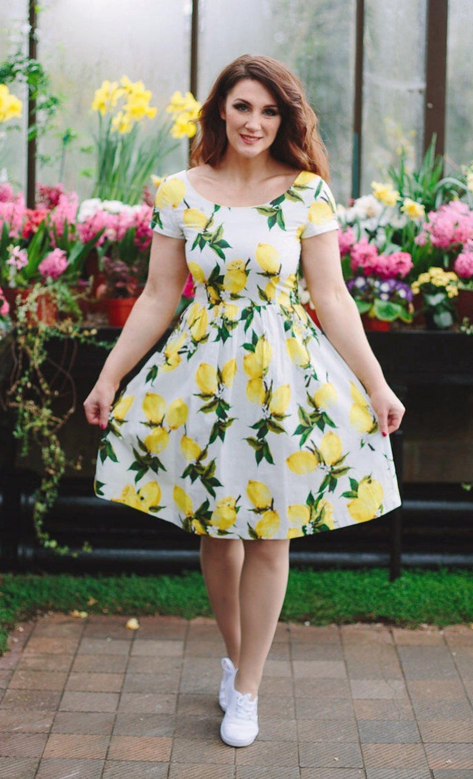 Lemon Print Tea Dress Floral Dress Vintage Style Dress White Summer Garden Party Dress Boat Neck Dress Wedding Dress Bridesmaid Dress Wedding Dresses Blush Wedding Dresses Unique Ball Gown Wedding Dress [ 2615 x 1588 Pixel ]