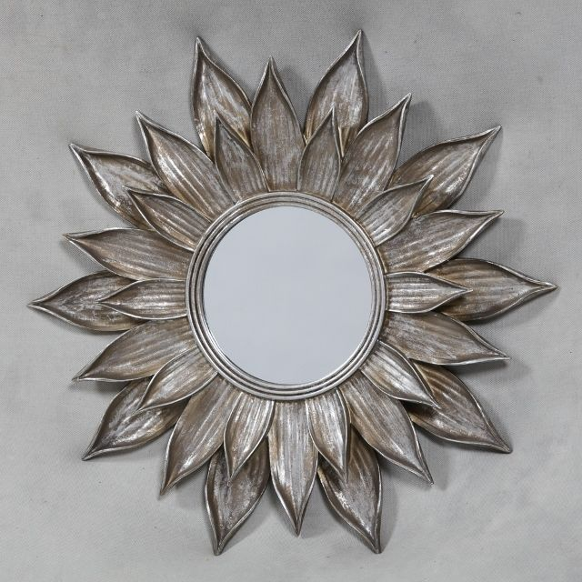 Silver Metal Lotus Flower Wall Mirror / Silver Sunflower Wall ...