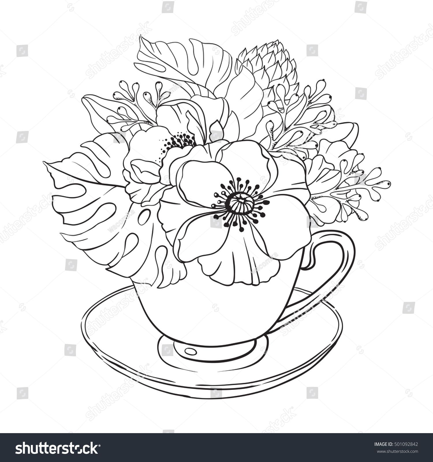 stock-vector-vector-illustration-adult-coloring-page-flowers-bouquet ...
