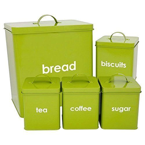 Lime Green Canisters 5 Piece Kitchen Storage Set Includes Bread Bin Biscuit  Teau2026