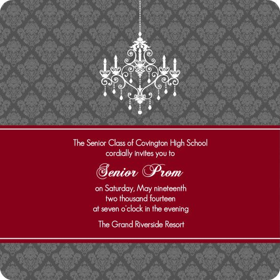 Maroon And Gray Chandelier Prom Invitation by PurpleTrail - prom invitation templates