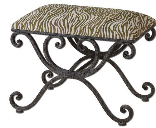 TUSCAN Scroll VANITY BENCH Stool Metal Chair Zebra Animal Print ...