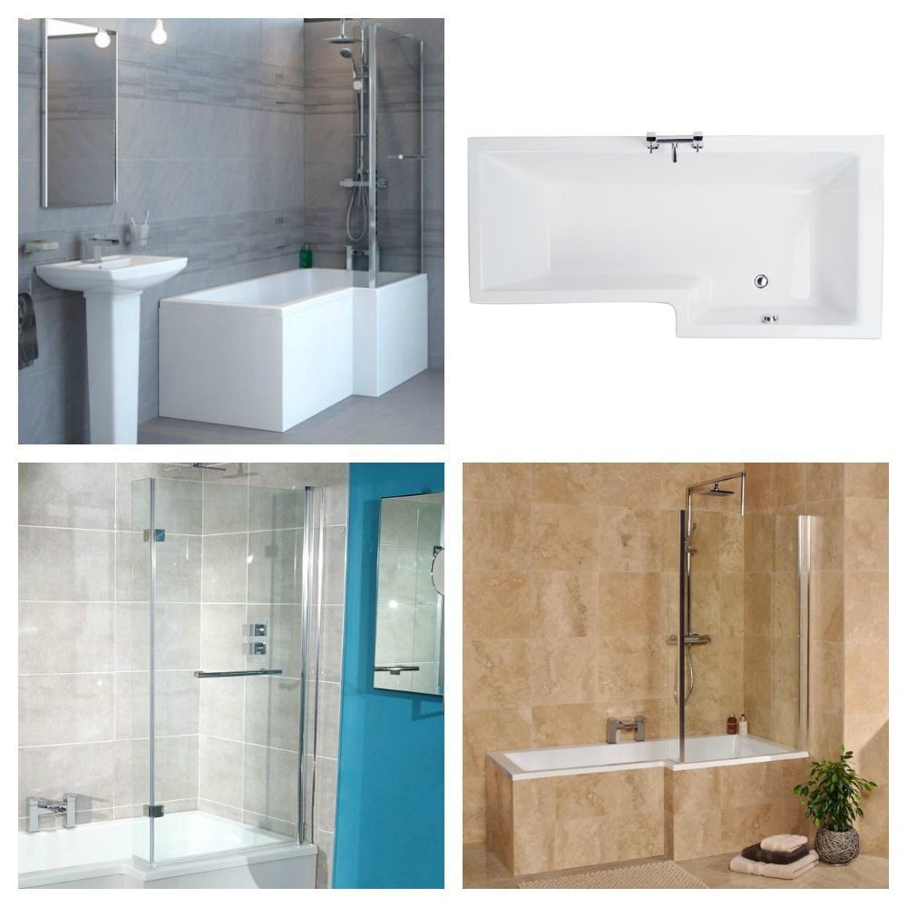 1500mm Right Hand L Shaped Shower Bath With Fixed Or Hinged Screen Panel