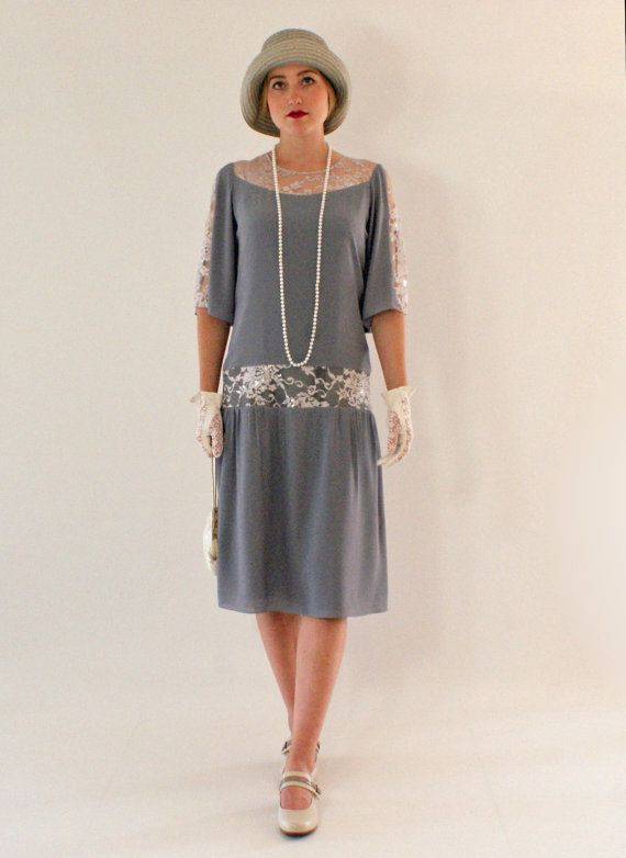 c55f05cd595 A pretty and fun flapper dress made of grey chiffon and silver grey lace
