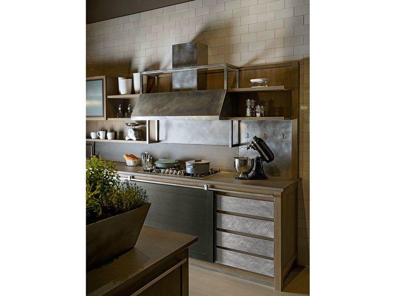 Küche aus Esche mit Kücheninsel INDUSTRIAL CHIC   Küche mit ...