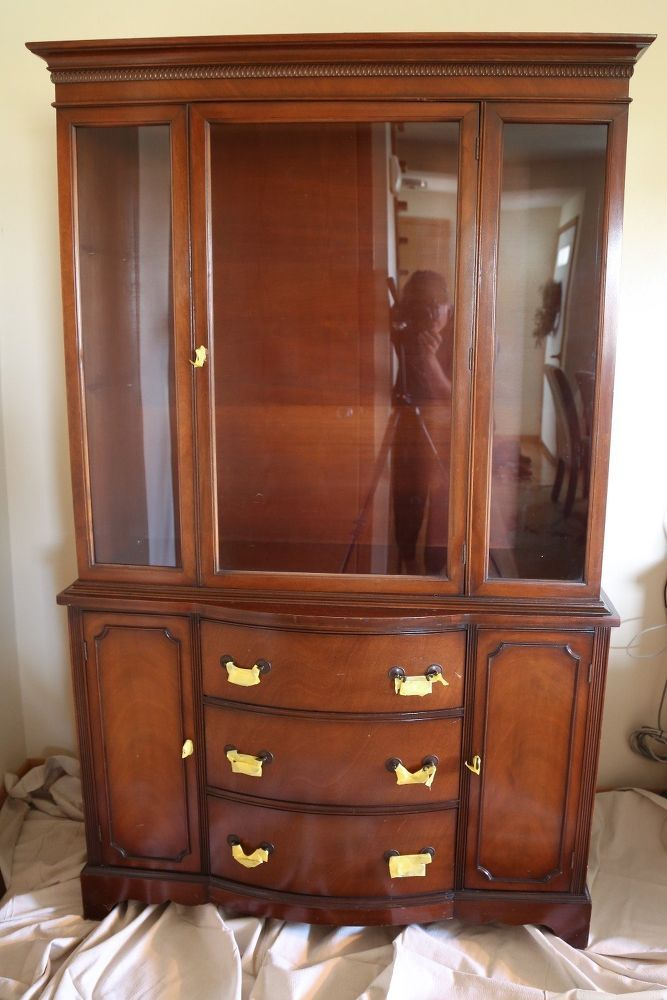 Lightly Distressed China Cabinet | China cabinet, Cherry ...
