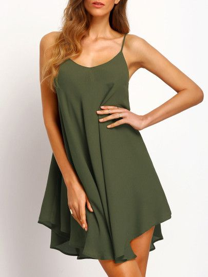 ea1842188d195e Spaghettiträger-Kleid mit asymmetrischem Saum -armee grün | Style ...