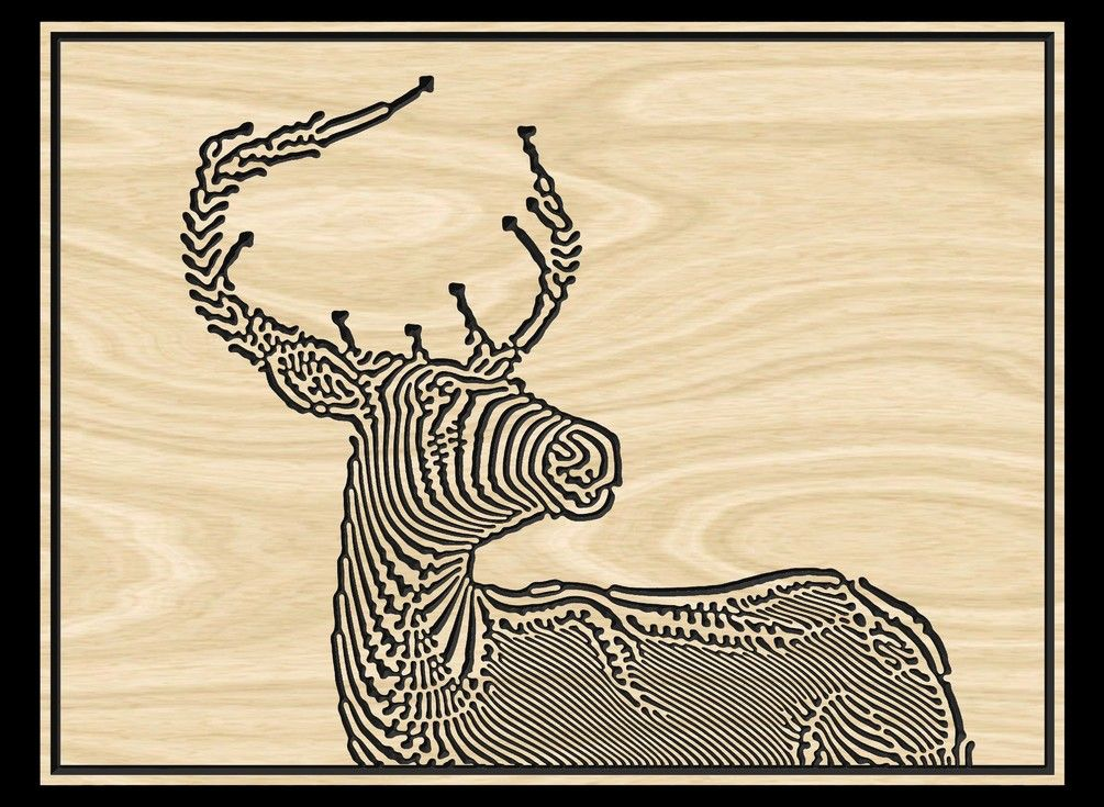 "Vector file for CNC VCarving ""Deer"" Vector file"