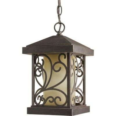 Progress lighting cypress collection 1 light outdoor forged bronze hanging lantern