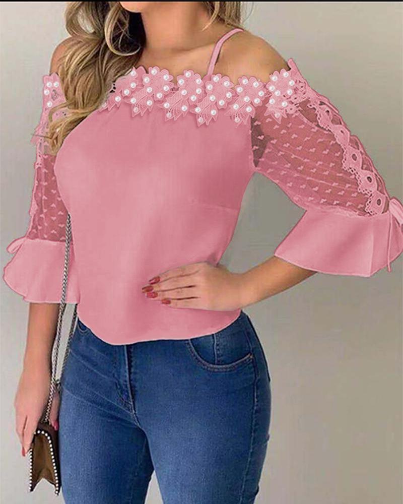 Women Summer Short Sleeve Cold Shoulder Hollow Back Crochet Lace T-shirt