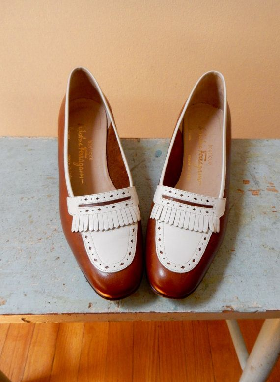 d97581fec51 80s Salvatore Ferragamo Kiltie Spectator Slip On Loafers Classic Low Heel  Caramel Brown White Leather Gorgeous