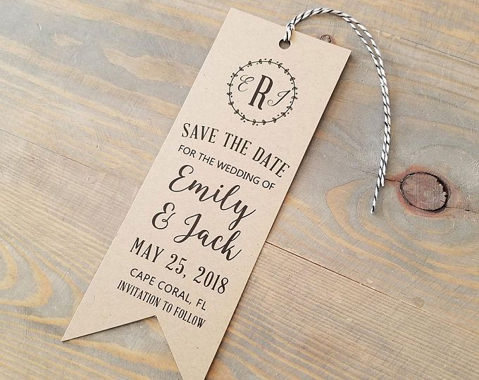 rustic bookmark save the date kraft bookmark bookmark invitation