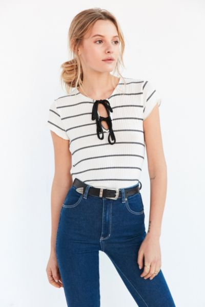 Kimchi Blue Sally Ribbed Knit Lace-Up Tee - Urban Outfitters  c6d7ca13b