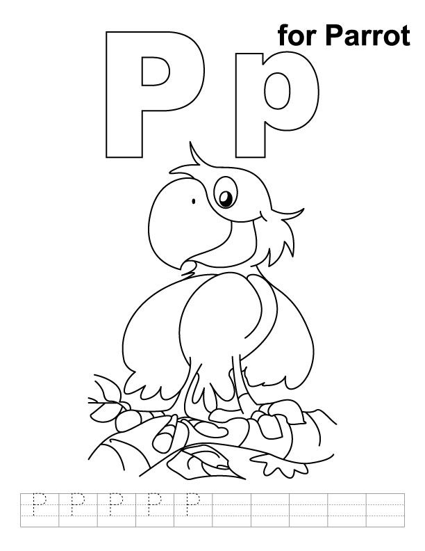 P For Parrot Coloring Page With Handwriting Practice Kids