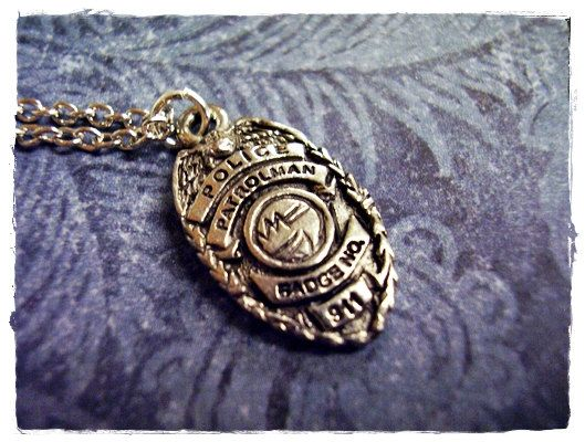 My friend who was married to an officer had one of these identical my friend who was married to an officer had one of these identical to her husbands tiny police badge charm necklace in antique pewter with a delicate 18 mozeypictures Choice Image