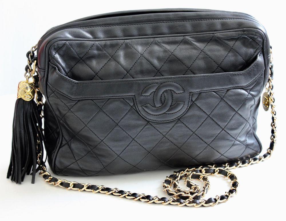cfbbb61fe52c Vintage Chanel Quilted Shoulder Bag Black Lambskin Leather Matelasse CC Logo  80s  CHANEL  ShoulderBag