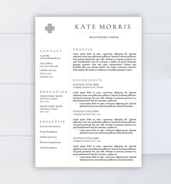 Medical Resume Template Cv Template For Word Two Pages Resume