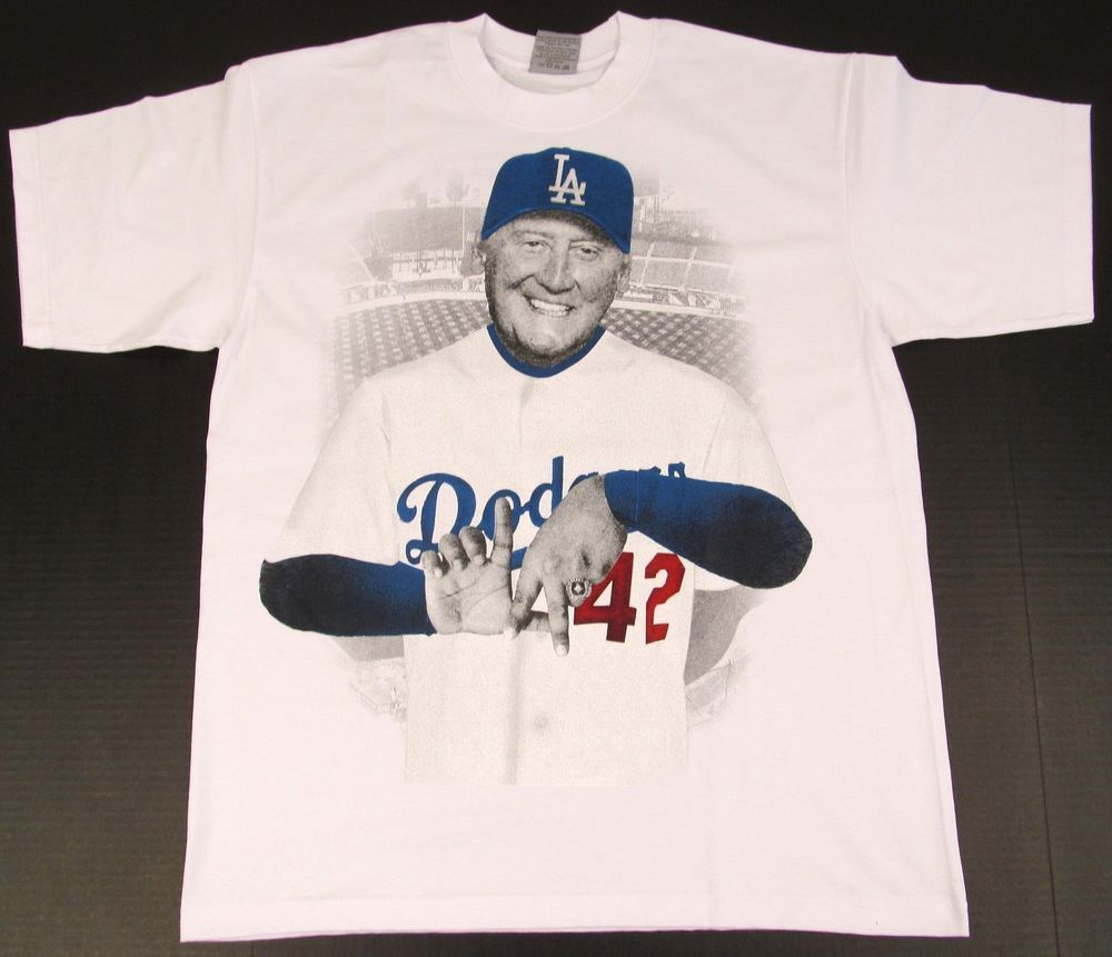 e37525fd31dd LA Dodgers Vin Scully T-shirt Los Angeles Streetwear Tee Adult M-4XL White  New