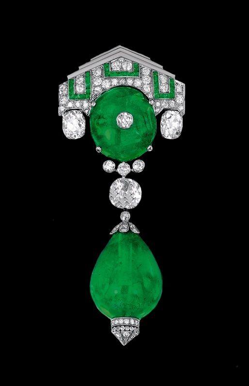 Art Deco emerald and diamond brooch.