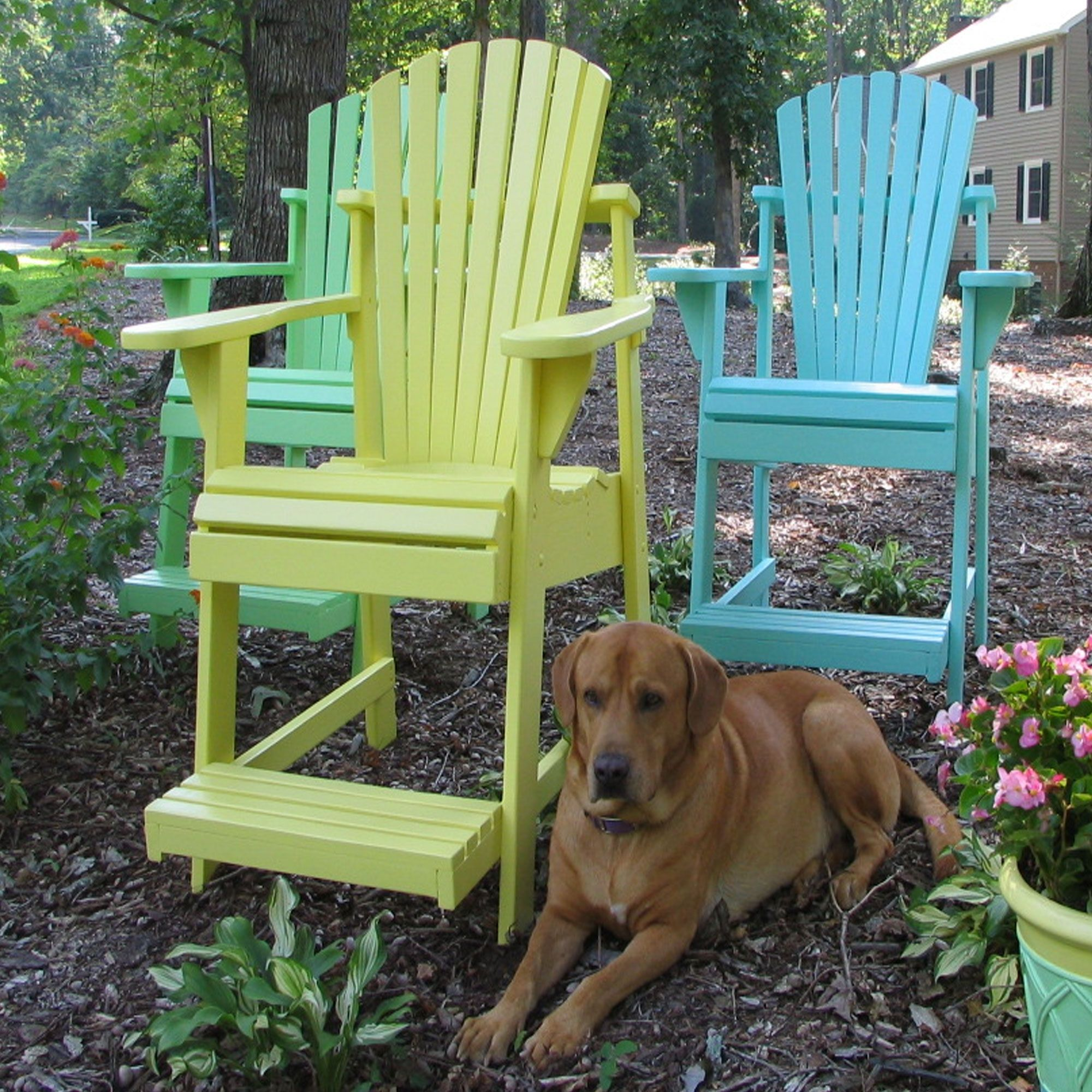 Painted adirondack balconypub chair in colors by weathercraft