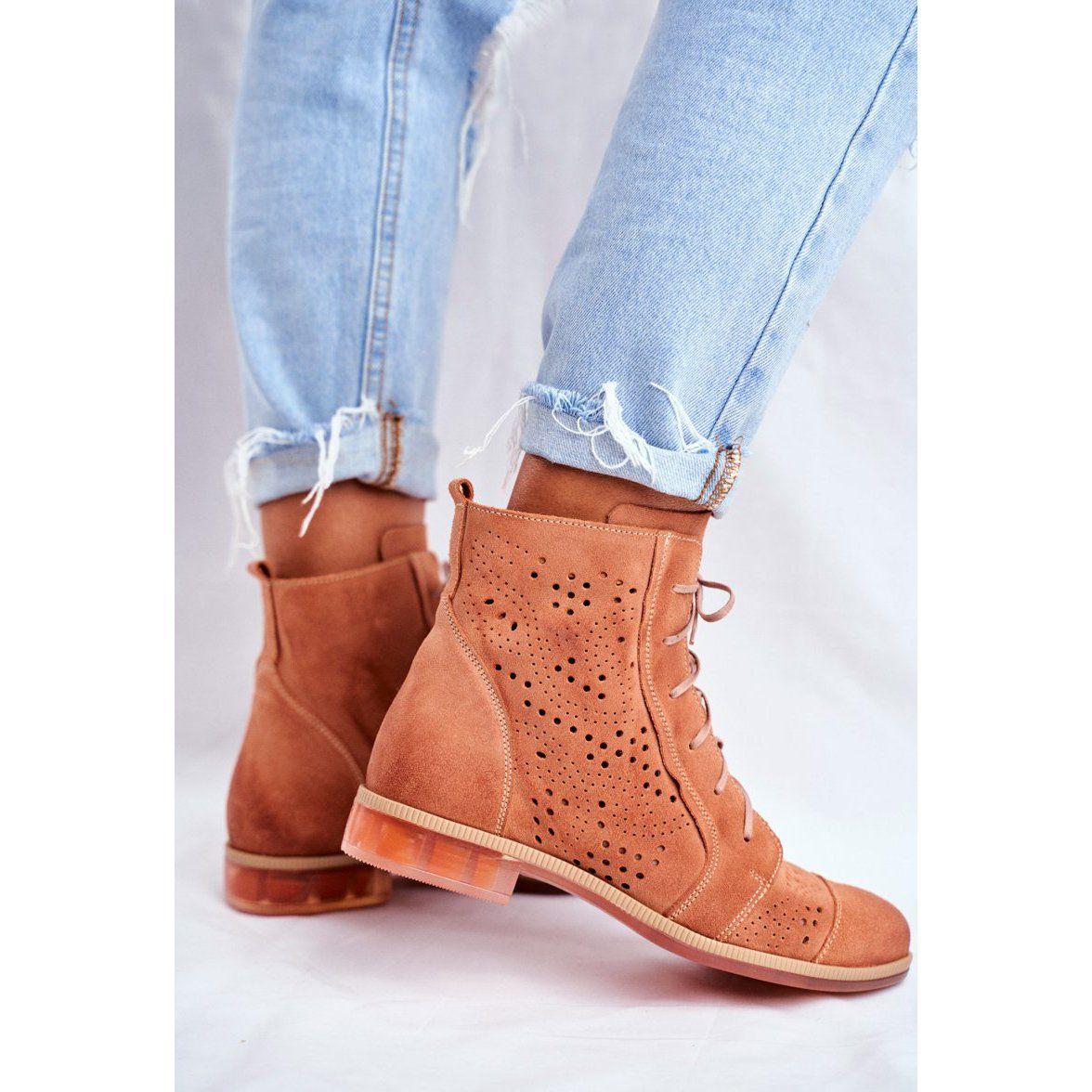 Botki Damskie Skorzane Trzewiki Maciejka Brzoskwiniowe 04468 18 Pomaranczowe Timberland Boots Boots Shoes