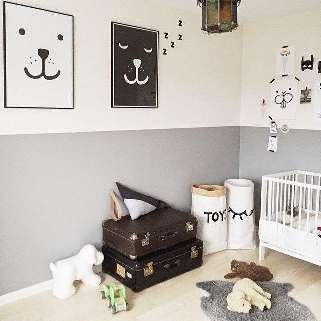 paredes pintadas en gris y blanco en habitaciones de niños