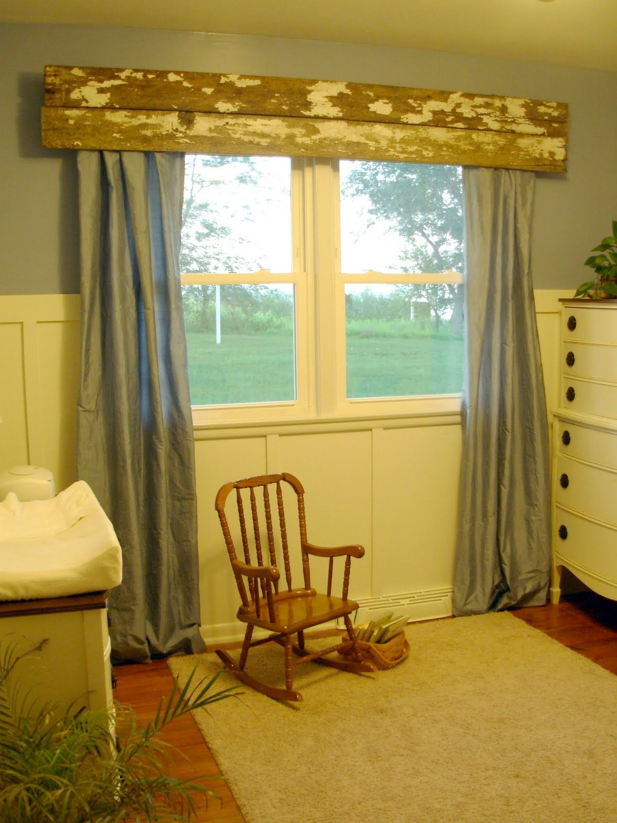 Rustic kitchen window treatments  remained wood valance that i would use as a shelf too  primitive