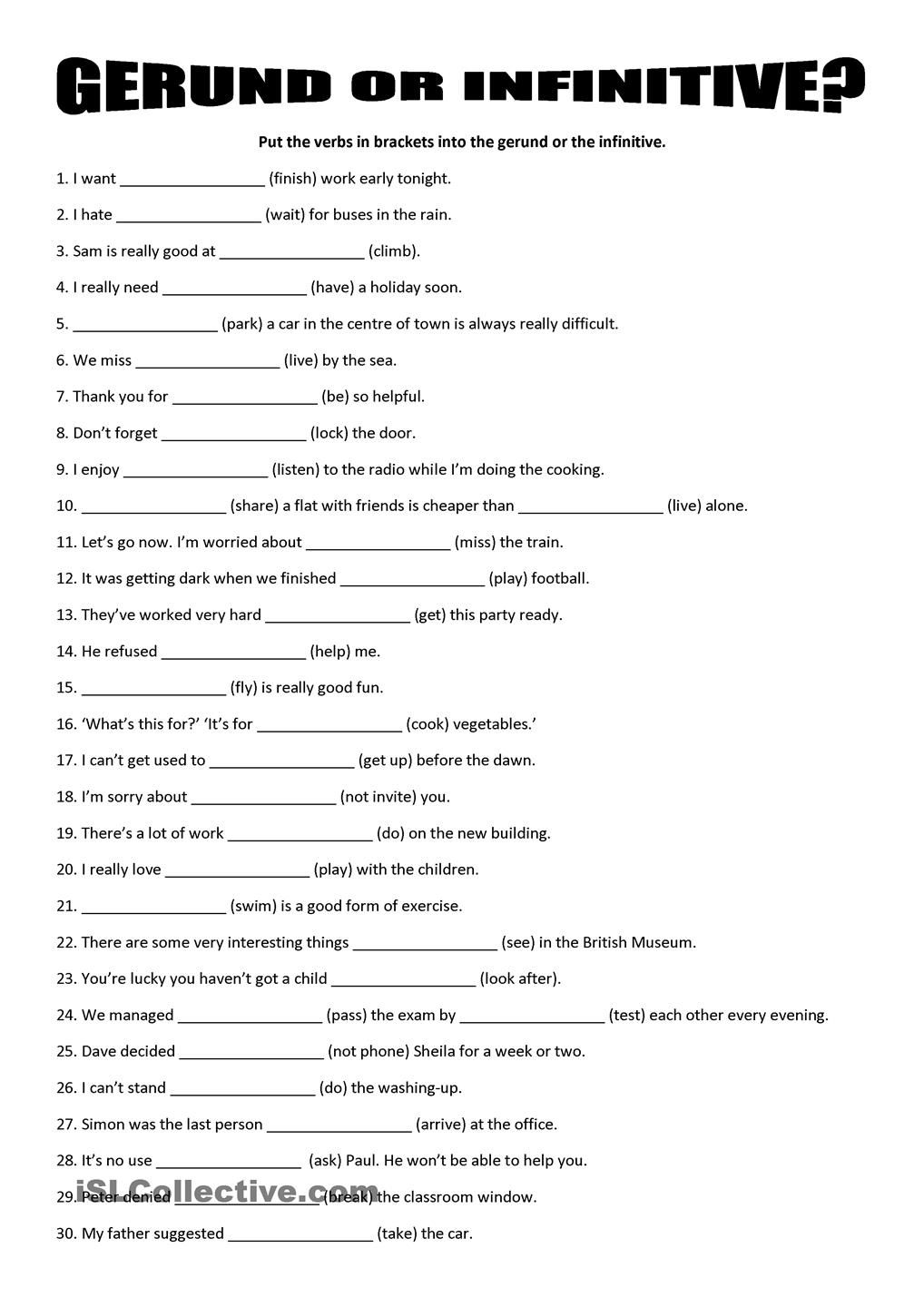 Gerund Or Infinitive Compound Words Worksheets Helping Verbs Word Formation [ 1440 x 1018 Pixel ]