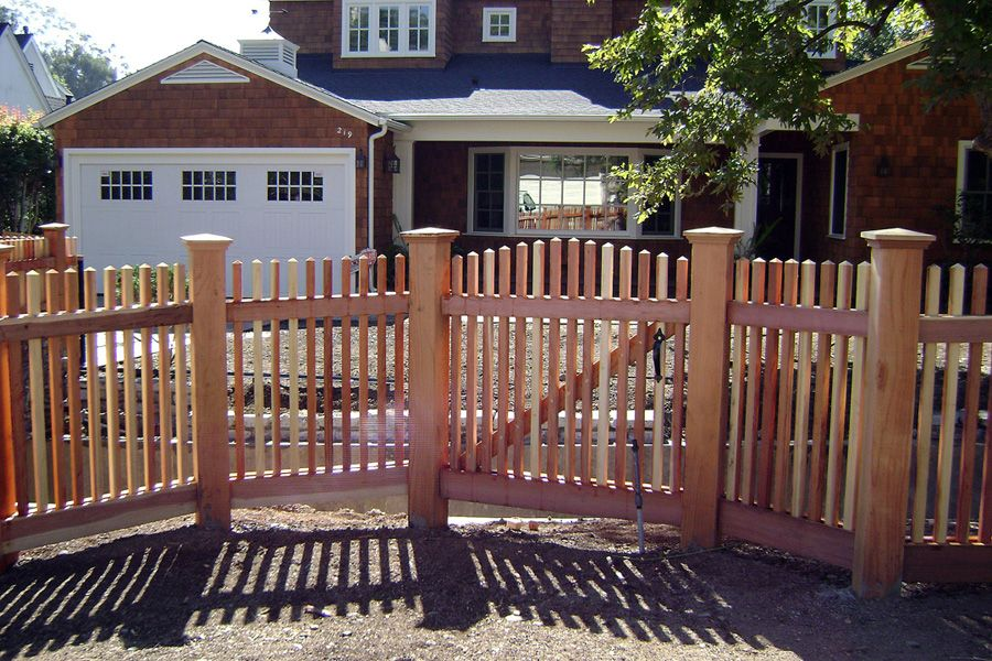 Redwood Picket Wood Fence Picket Fence Gate Fence Contractor
