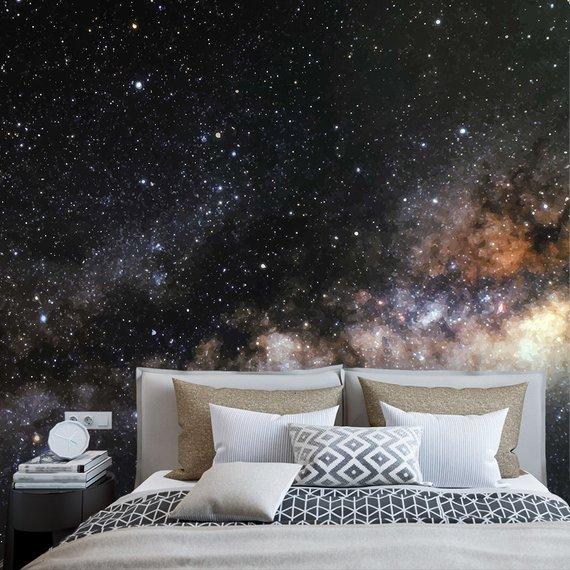 Space Wallpaper Galaxy Wallpaper Outer Space Wall Mural Etsy Outer Space Wallpaper Galaxy Wallpaper Nursery Wallpaper
