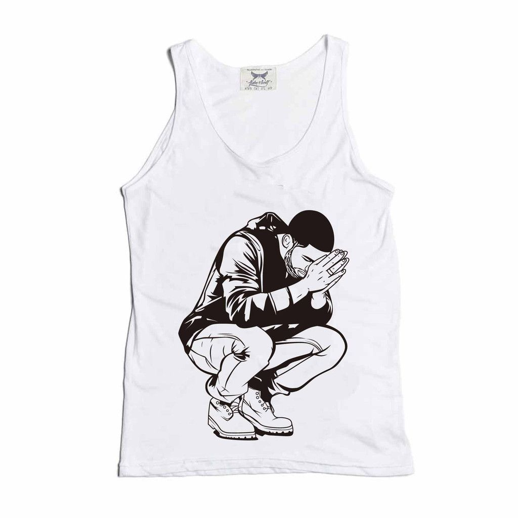 Drake 6 God White Tank // Babes & Gents // http://babesngents.com/collections/graphic-shirts // #babesngents