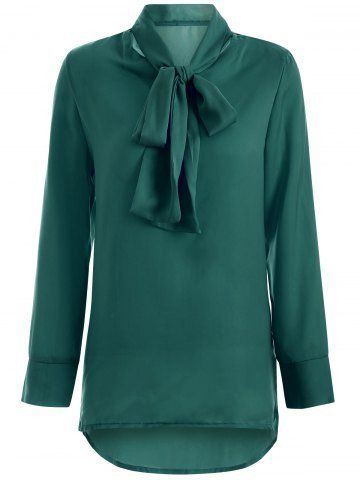 Brief Bow Collar High Low Hem Long Sleeve Blouse For Women