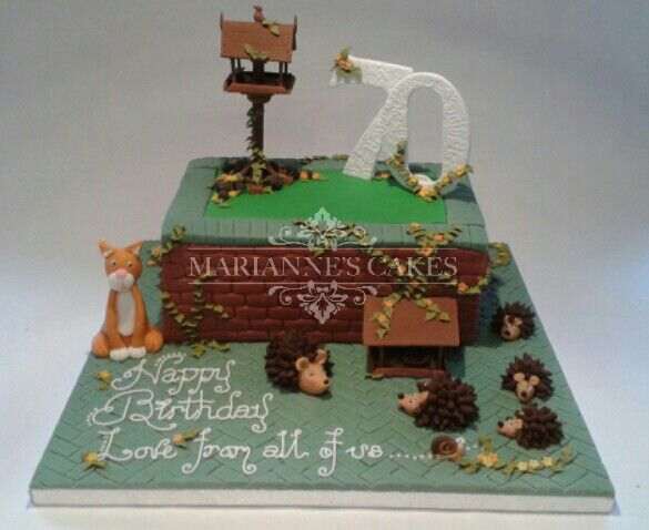 70th Birthday cake with hedgehogs cat and bird table www
