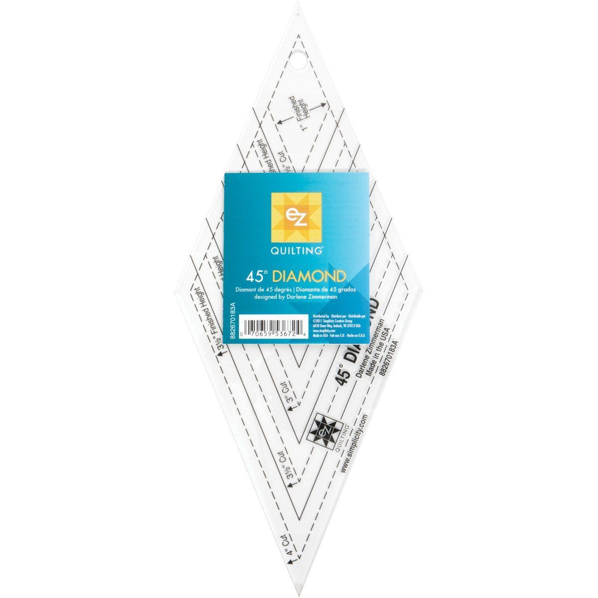 Ez Quilting 60 Degree Diamond Ruler Template Designed By