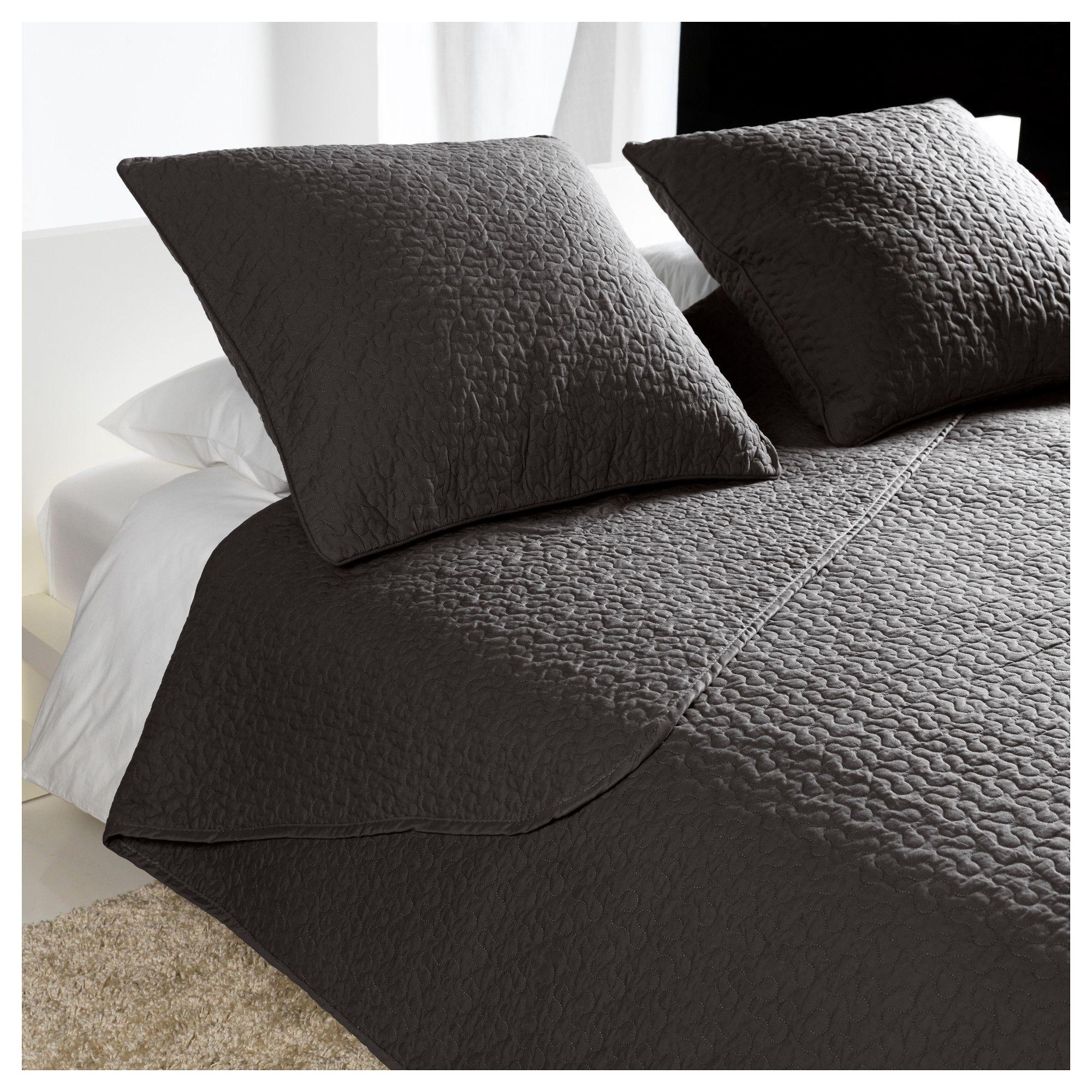 alina couvre lit et 2 housses coussin gris fonc housse. Black Bedroom Furniture Sets. Home Design Ideas
